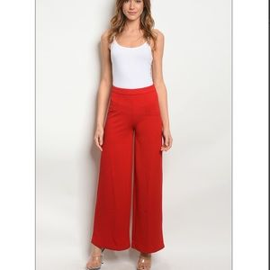 Pants - COMING SOON! Red high waisted wide leg Pants